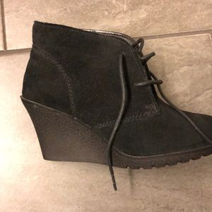 Brand new black wedge bootie